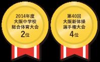 2014年度大阪中学校総合体育大会2位 第40回大阪新体操選手権滝会4位