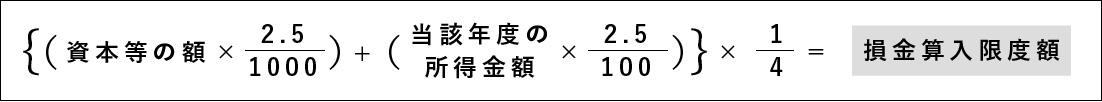 {(資本等の額 ×2.5/1000)+(当該年度の所得金額×2.5/100)}×1/4=損金算入限度額